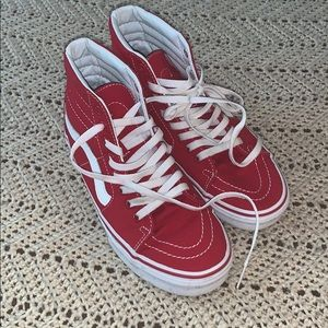 Vans women's 8.5 red and white high tops